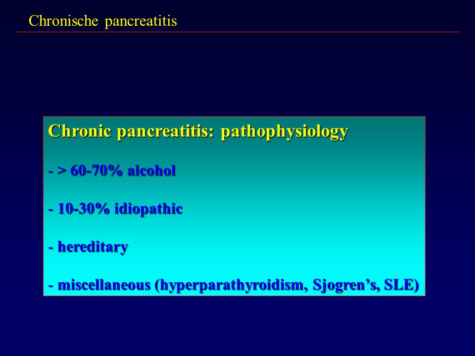Chronic pancreatitis: pathophysiology