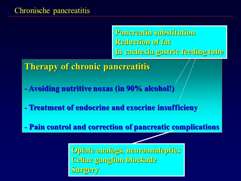 Therapy of chronic pancreatitis