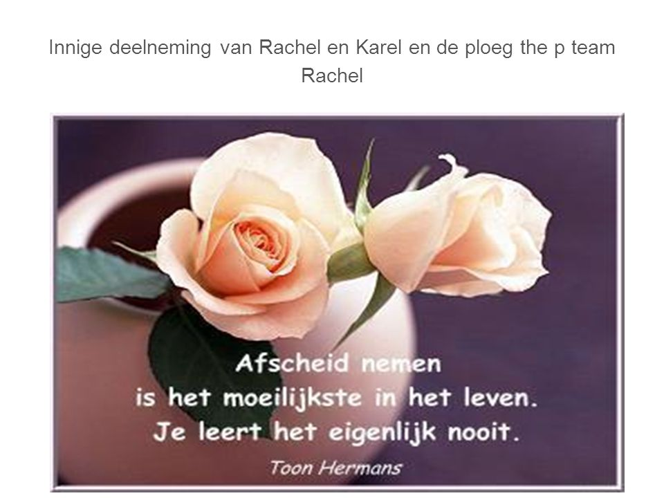 Innige deelneming van Rachel en Karel en de ploeg the p team Rachel