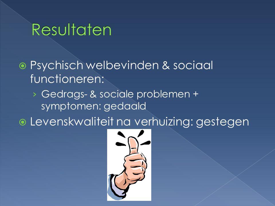 Resultaten Psychisch welbevinden & sociaal functioneren:
