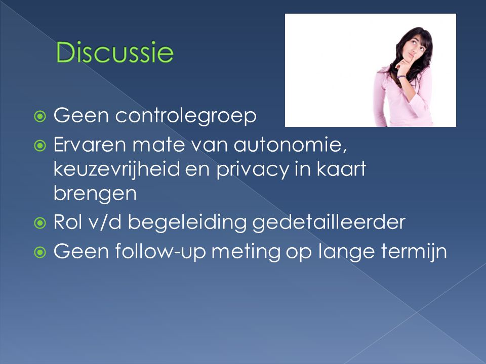 Discussie Geen controlegroep