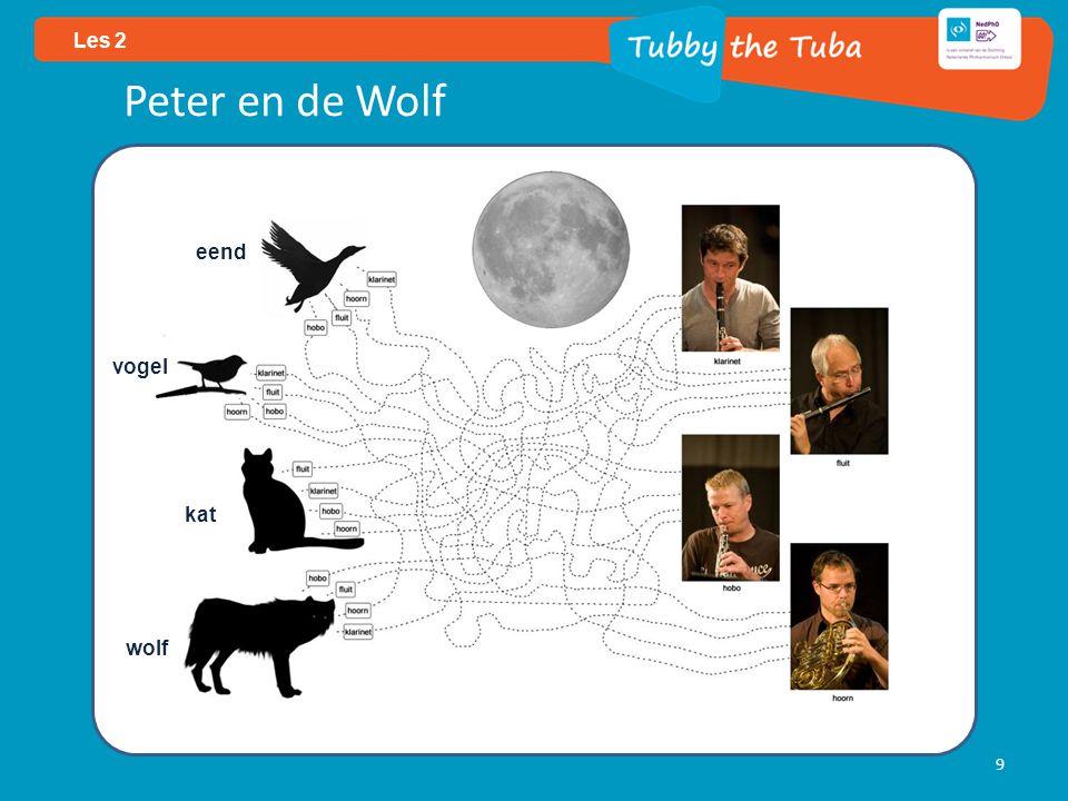 Les 2 Peter en de Wolf eend vogel kat wolf
