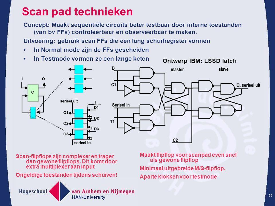 Scan pad technieken Concept: Maakt sequentiële circuits beter testbaar door interne toestanden (van bv FFs) controleerbaar en observeerbaar te maken.