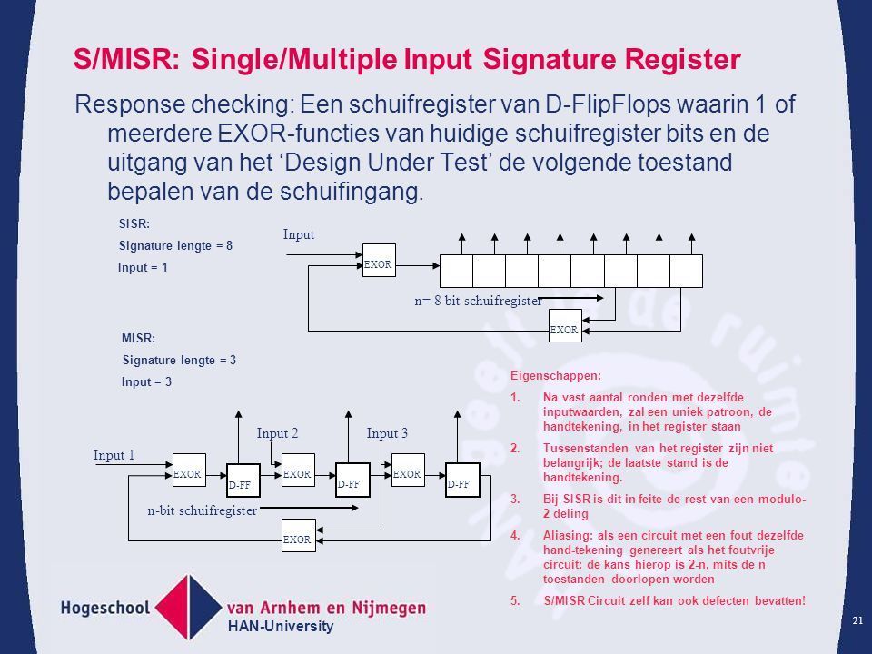 S/MISR: Single/Multiple Input Signature Register