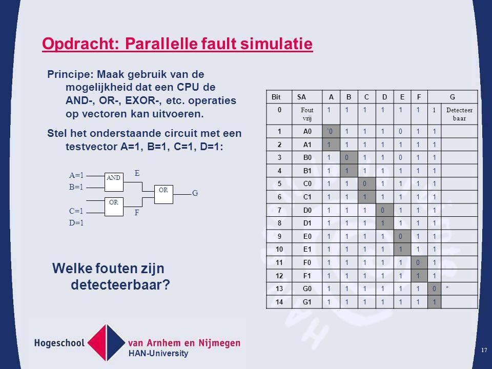 Opdracht: Parallelle fault simulatie