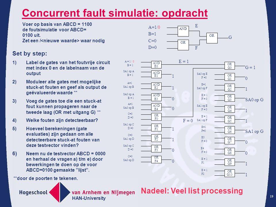 Concurrent fault simulatie: opdracht