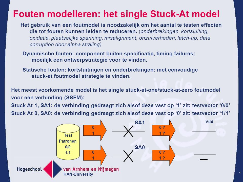 Fouten modelleren: het single Stuck-At model