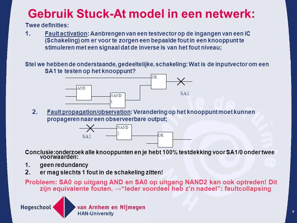 Gebruik Stuck-At model in een netwerk: