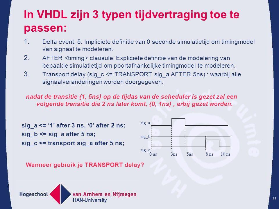 In VHDL zijn 3 typen tijdvertraging toe te passen: