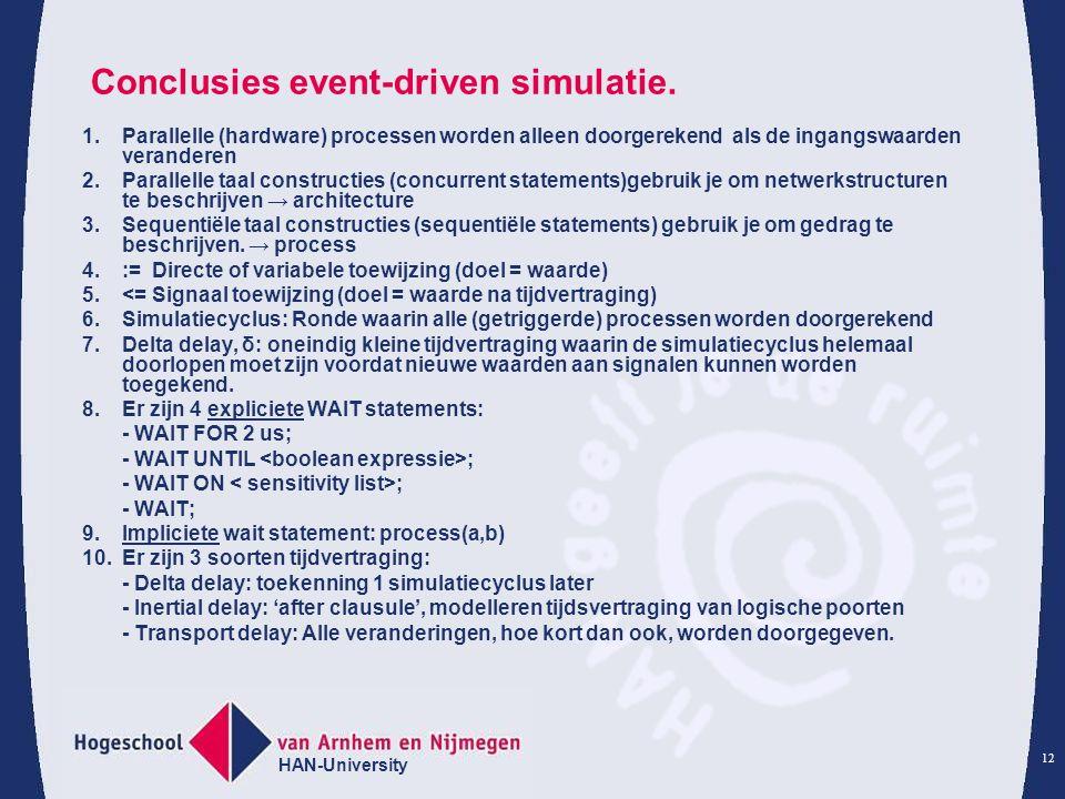 Conclusies event-driven simulatie.
