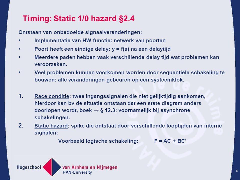 Timing: Static 1/0 hazard §2.4