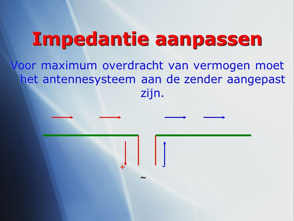 Impedantie aanpassen Voor maximum overdracht van vermogen moet het antennesysteem aan de zender aangepast zijn.