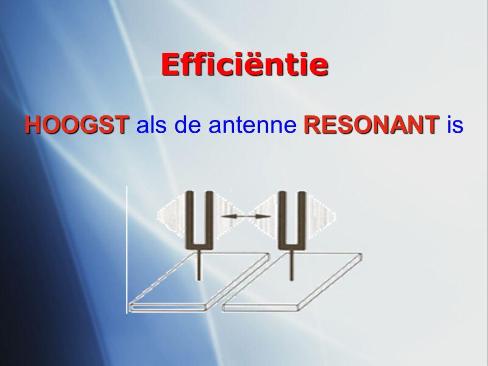 HOOGST als de antenne RESONANT is