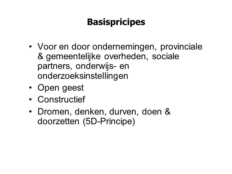 Basispricipes Voor en door ondernemingen, provinciale & gemeentelijke overheden, sociale partners, onderwijs- en onderzoeksinstellingen.