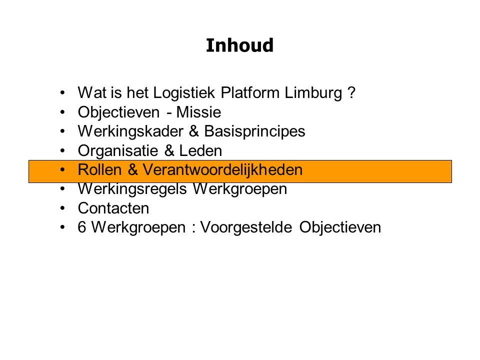 Inhoud Wat is het Logistiek Platform Limburg Objectieven - Missie