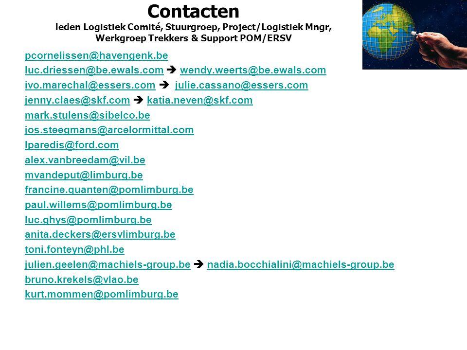 Contacten leden Logistiek Comité, Stuurgroep, Project/Logistiek Mngr, Werkgroep Trekkers & Support POM/ERSV