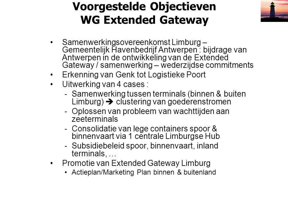 Voorgestelde Objectieven WG Extended Gateway