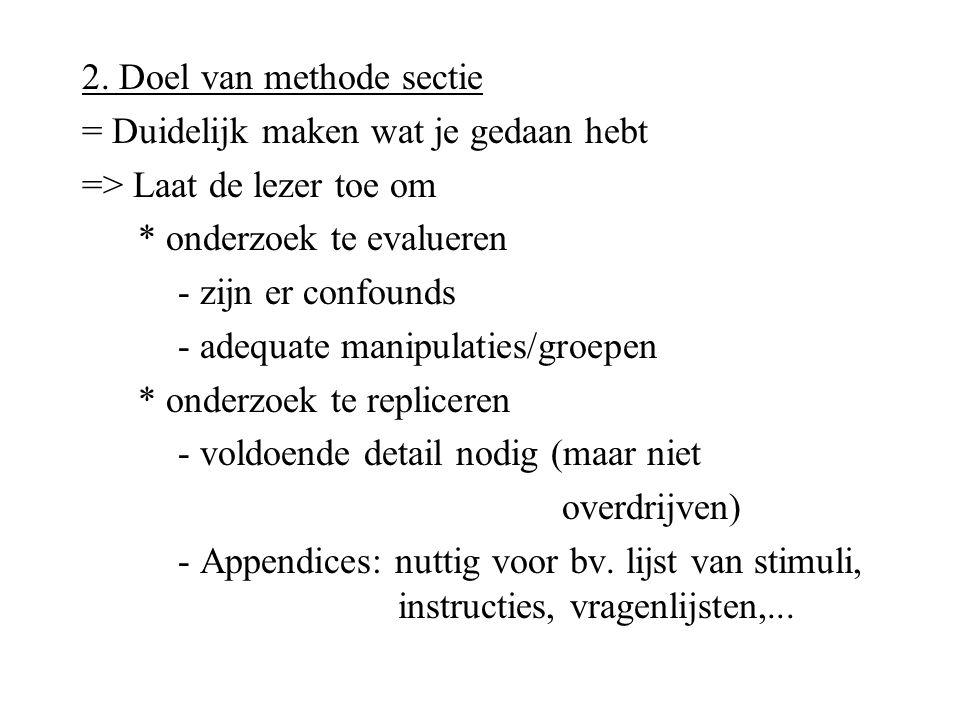 2. Doel van methode sectie