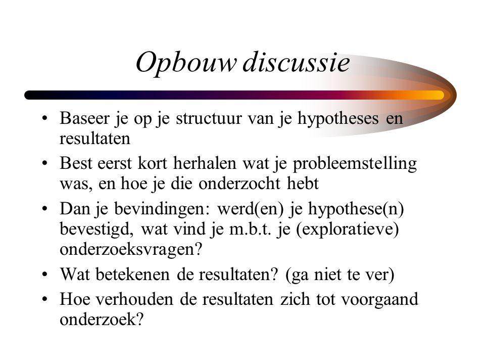 Opbouw discussie Baseer je op je structuur van je hypotheses en resultaten.