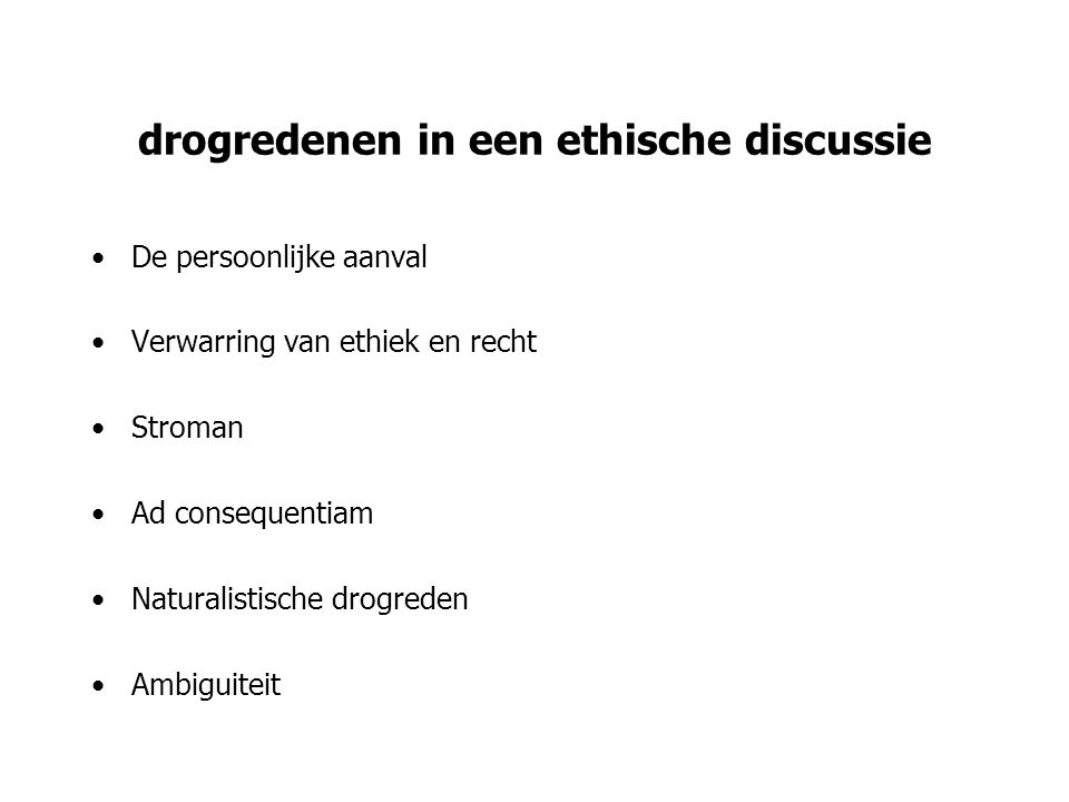drogredenen in een ethische discussie