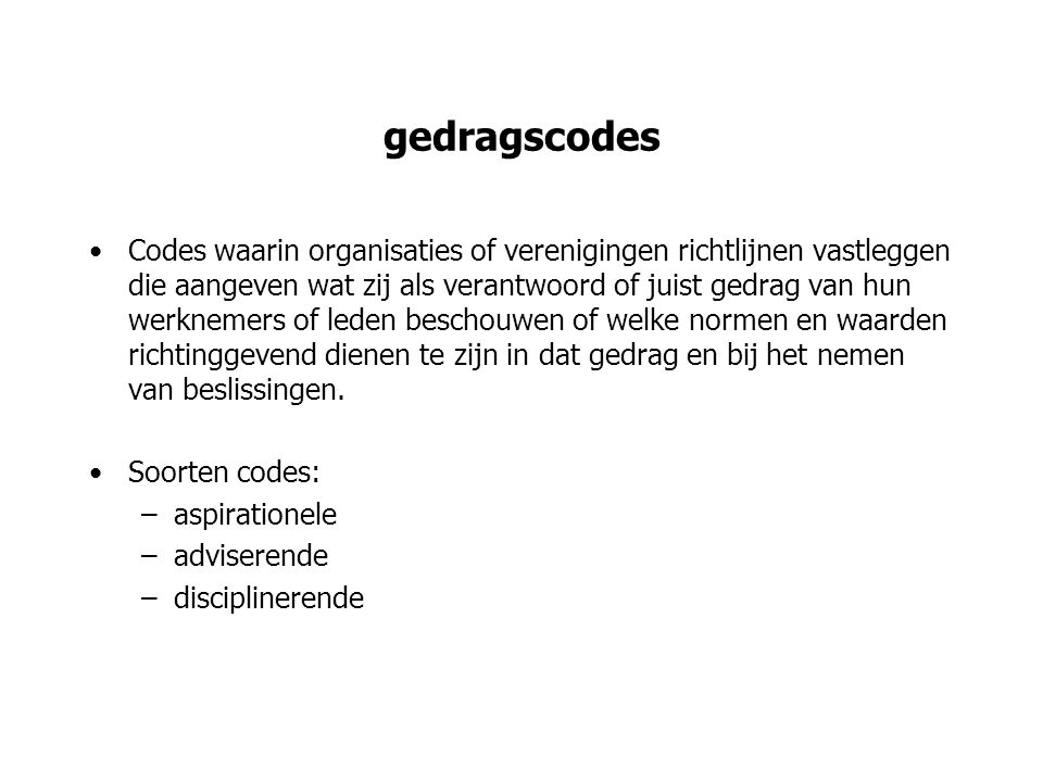 gedragscodes
