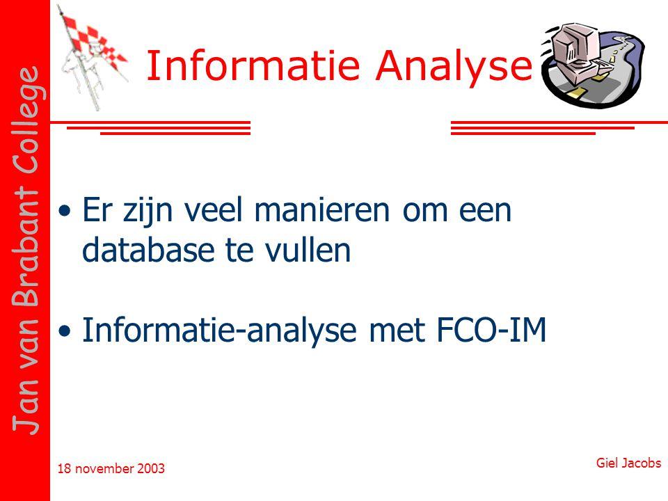 Informatie Analyse Er zijn veel manieren om een database te vullen