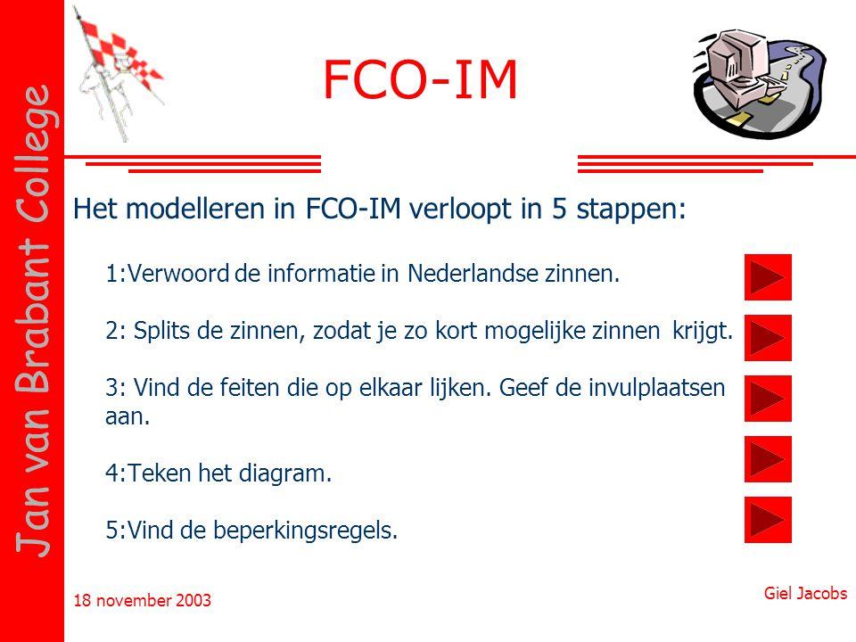 FCO-IM Het modelleren in FCO-IM verloopt in 5 stappen: