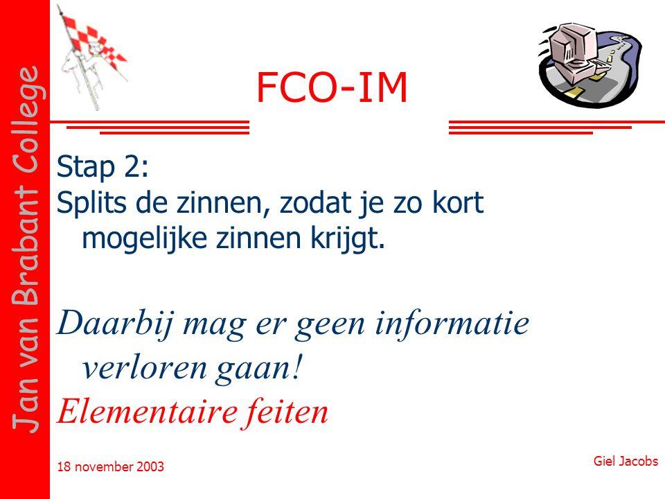 FCO-IM Daarbij mag er geen informatie verloren gaan!