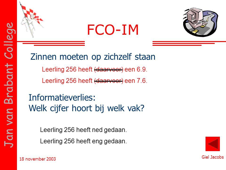 FCO-IM Zinnen moeten op zichzelf staan Informatieverlies: