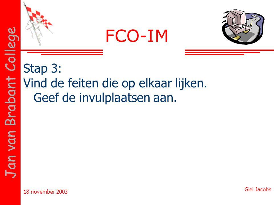 FCO-IM Stap 3: Vind de feiten die op elkaar lijken. Geef de invulplaatsen aan.