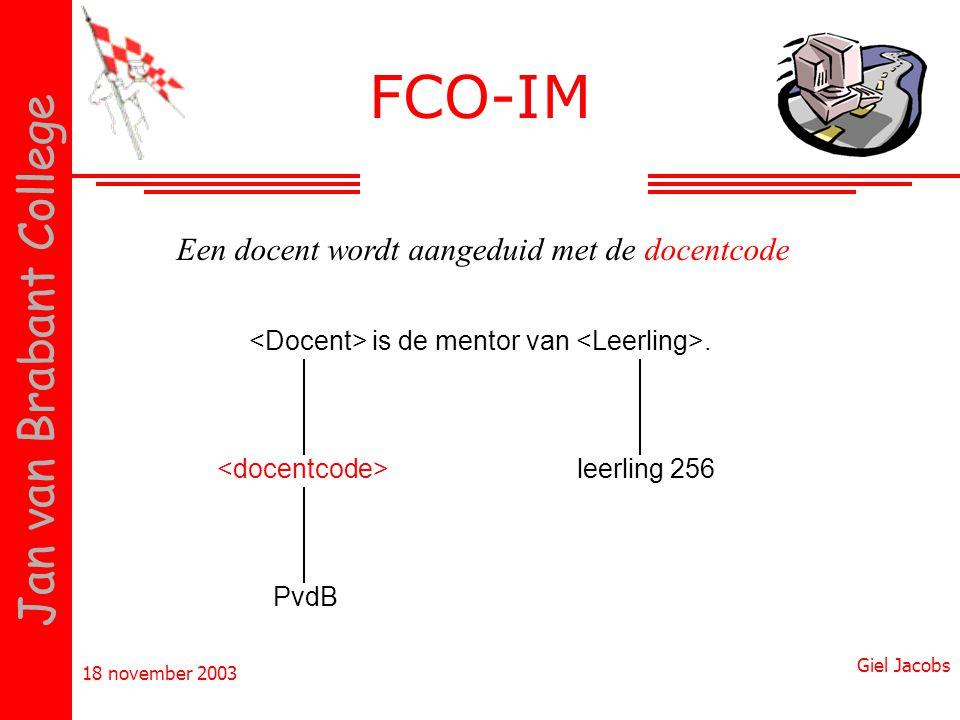 FCO-IM Een docent wordt aangeduid met de docentcode