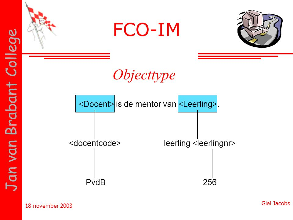 FCO-IM Objecttype <Docent> is de mentor van <Leerling>.