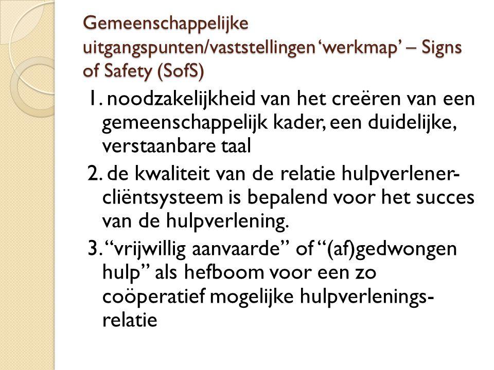 Gemeenschappelijke uitgangspunten/vaststellingen 'werkmap' – Signs of Safety (SofS)