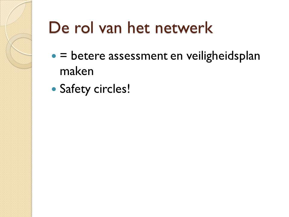 De rol van het netwerk = betere assessment en veiligheidsplan maken