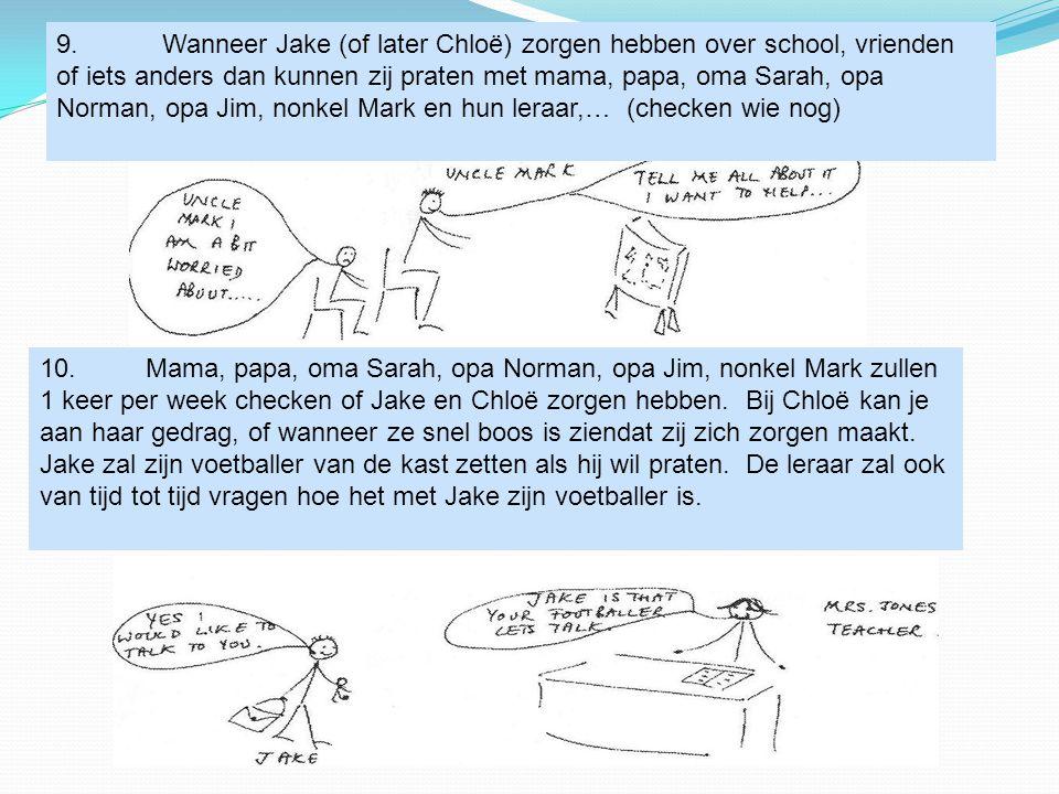 9. Wanneer Jake (of later Chloë) zorgen hebben over school, vrienden of iets anders dan kunnen zij praten met mama, papa, oma Sarah, opa Norman, opa Jim, nonkel Mark en hun leraar,… (checken wie nog)