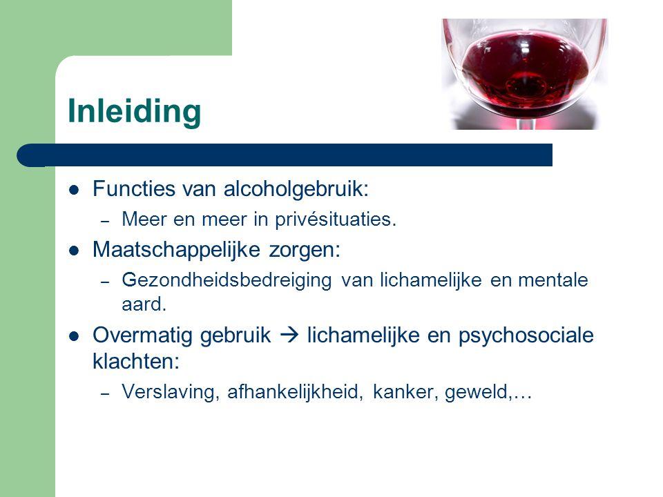 Inleiding Functies van alcoholgebruik: Maatschappelijke zorgen: