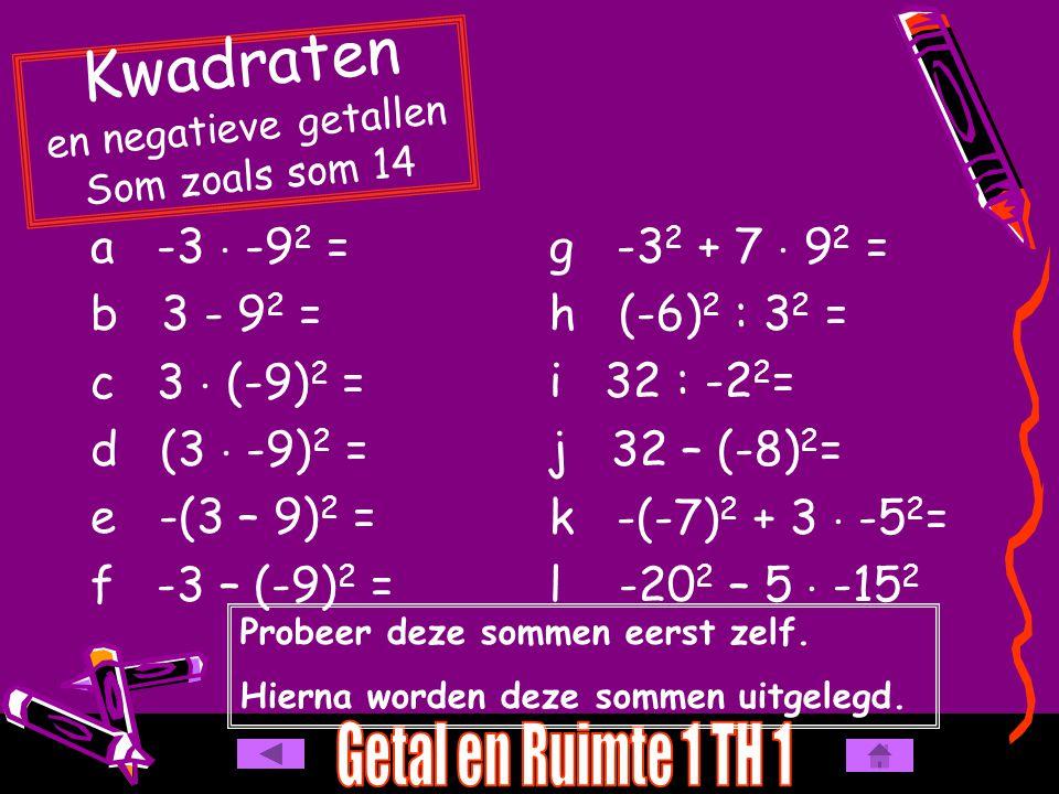 Kwadraten en negatieve getallen Som zoals som 14
