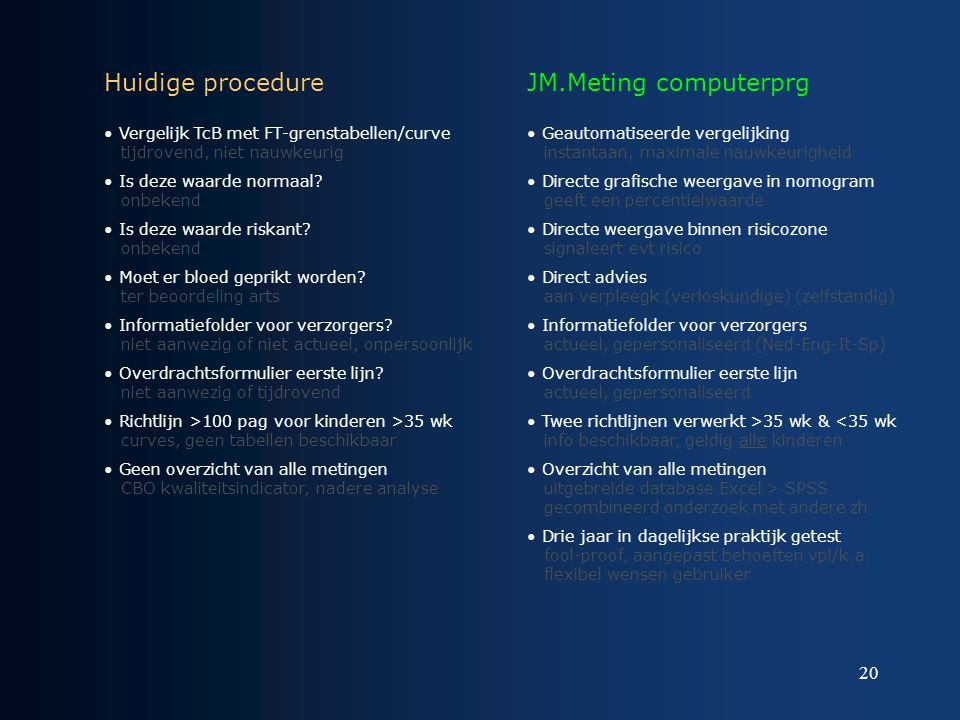 Huidige procedure JM.Meting computerprg