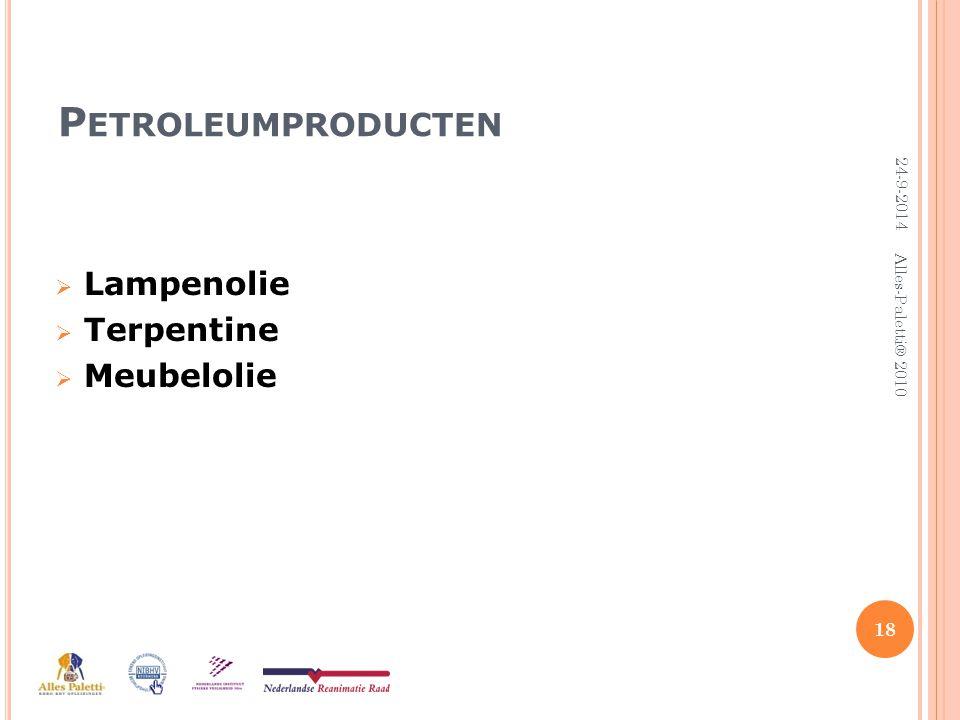 Petroleumproducten Lampenolie Terpentine Meubelolie 5-4-2017