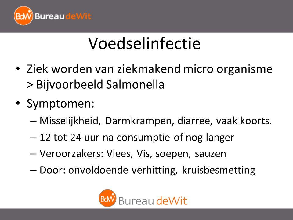 Voedselinfectie Ziek worden van ziekmakend micro organisme > Bijvoorbeeld Salmonella. Symptomen: Misselijkheid, Darmkrampen, diarree, vaak koorts.