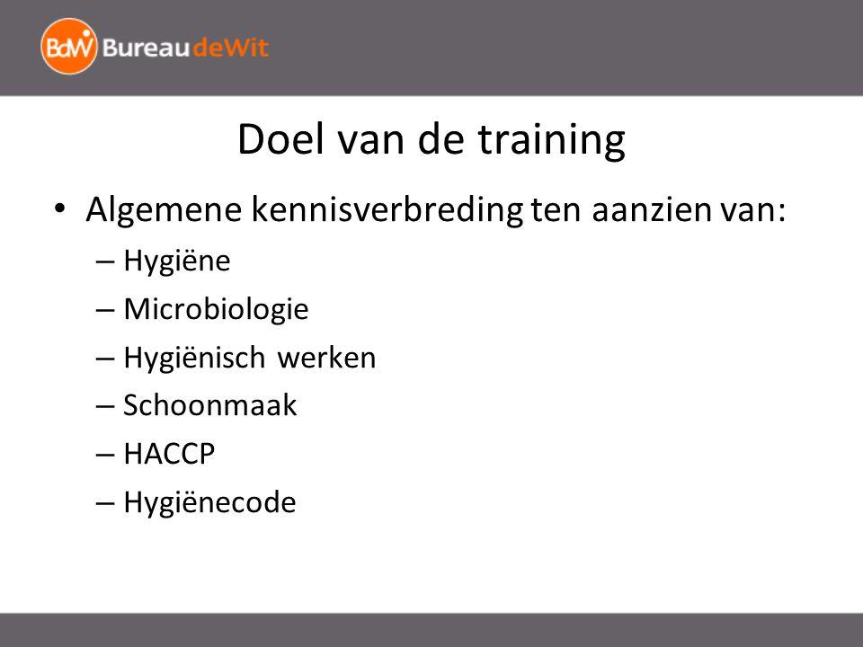 Doel van de training Algemene kennisverbreding ten aanzien van: