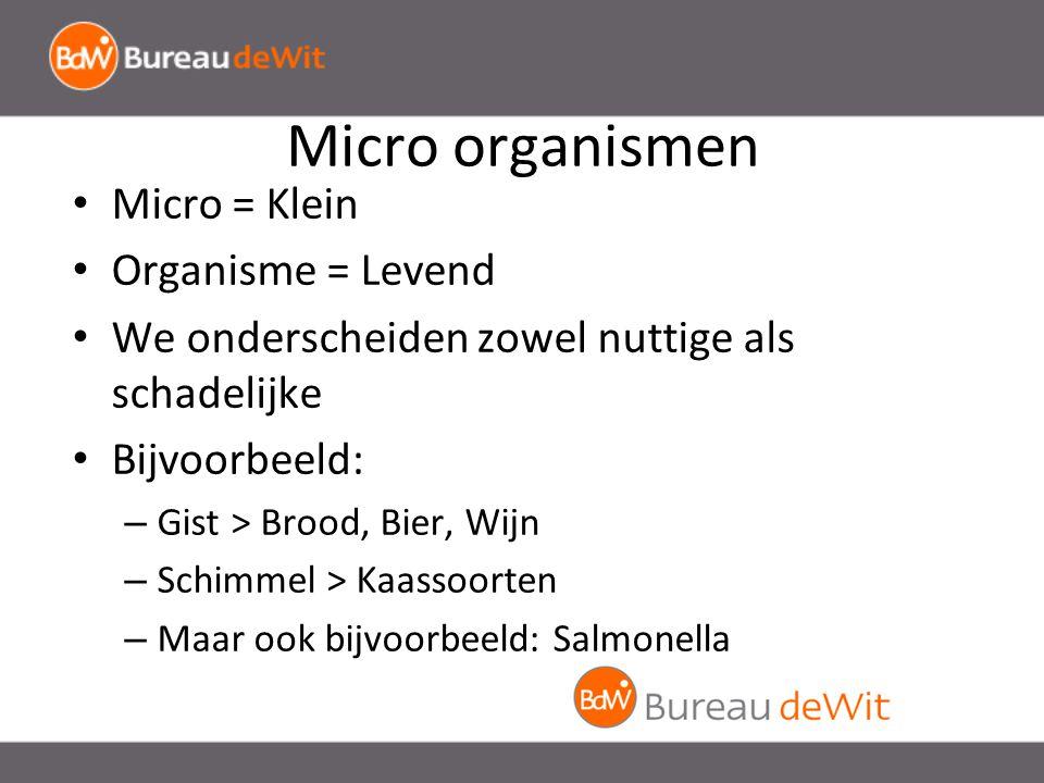 Micro organismen Micro = Klein Organisme = Levend