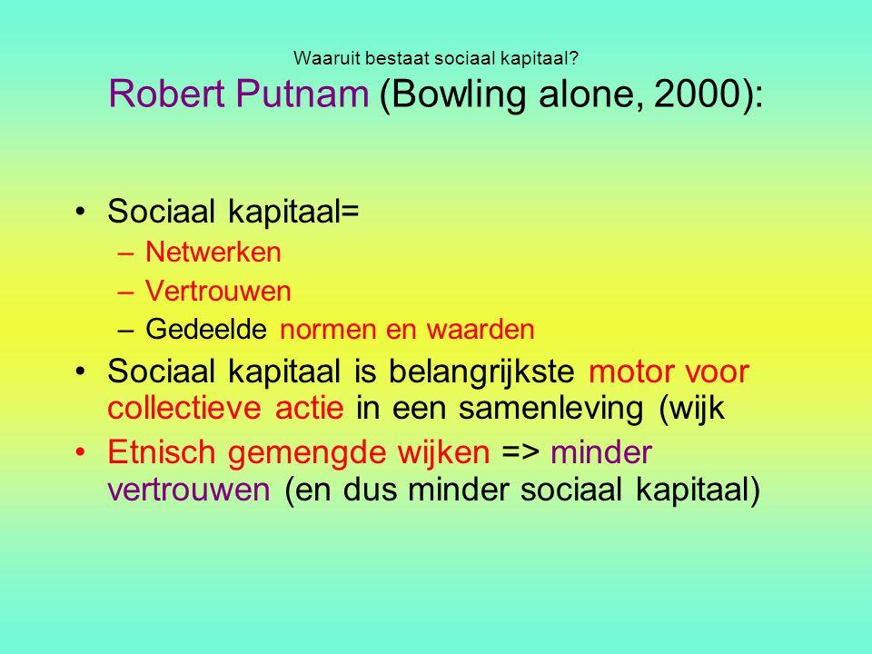 Waaruit bestaat sociaal kapitaal Robert Putnam (Bowling alone, 2000):