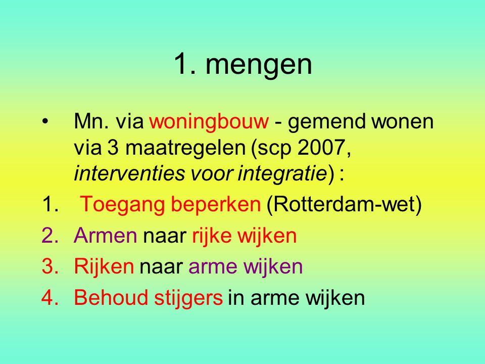 1. mengen Mn. via woningbouw - gemend wonen via 3 maatregelen (scp 2007, interventies voor integratie) :