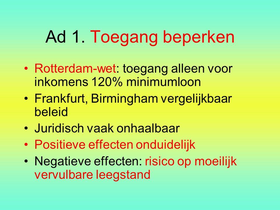 Ad 1. Toegang beperken Rotterdam-wet: toegang alleen voor inkomens 120% minimumloon. Frankfurt, Birmingham vergelijkbaar beleid.