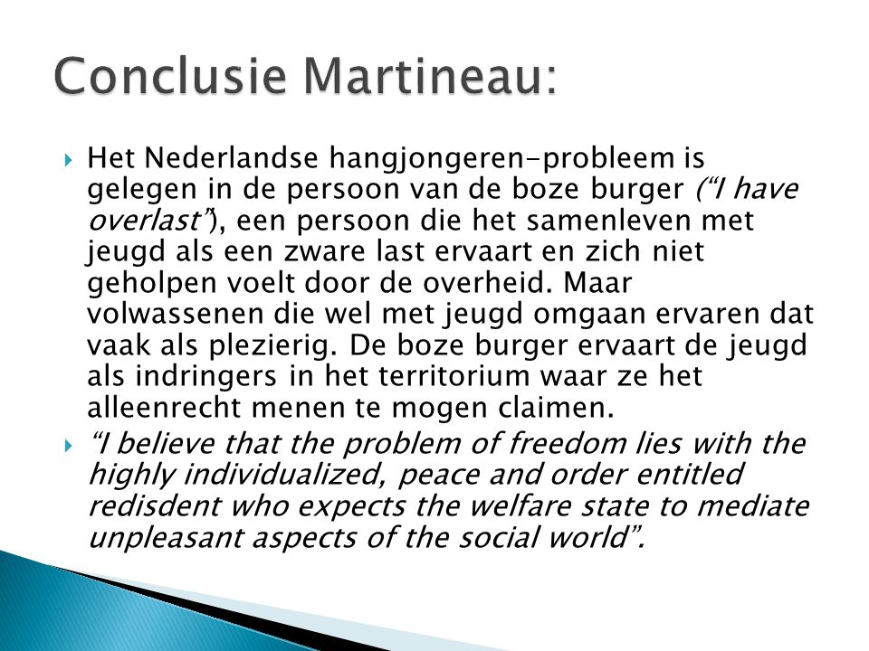Conclusie Martineau: