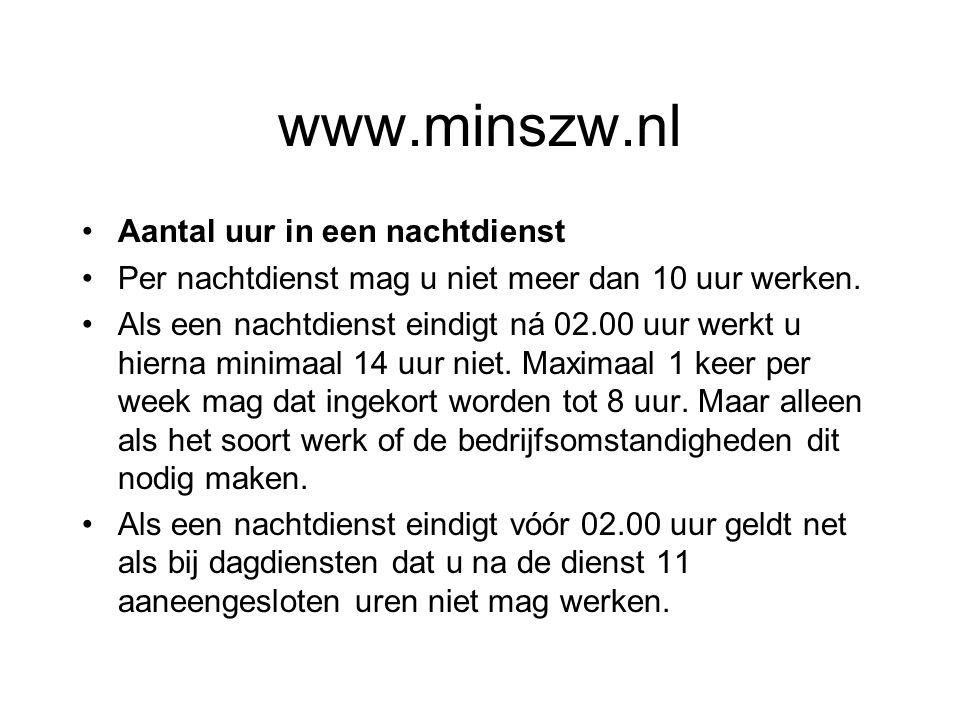 www.minszw.nl Aantal uur in een nachtdienst