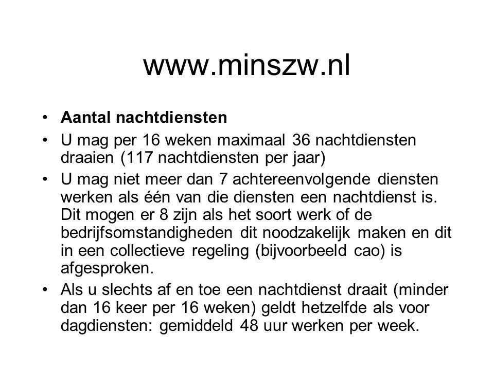www.minszw.nl Aantal nachtdiensten