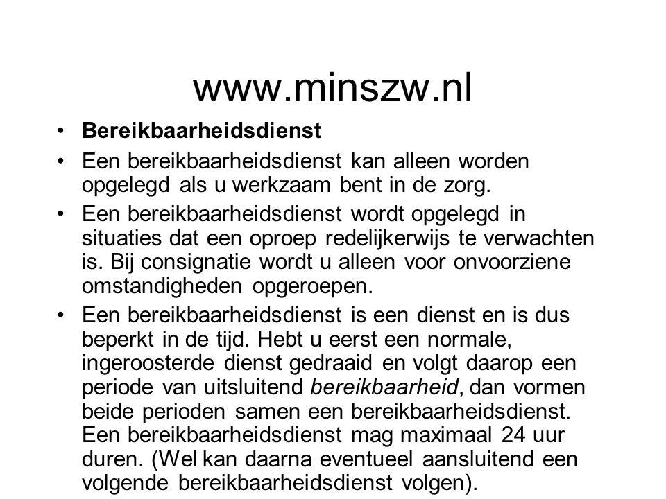 www.minszw.nl Bereikbaarheidsdienst
