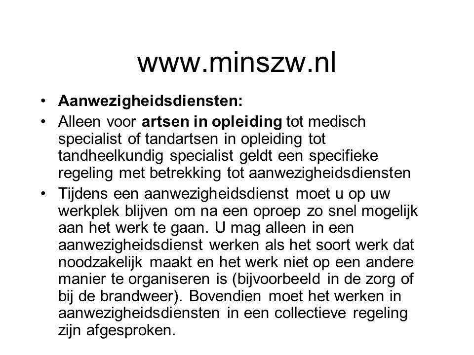 www.minszw.nl Aanwezigheidsdiensten: